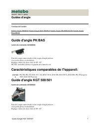 Guide d'angle KGT 500/501 - Metabo