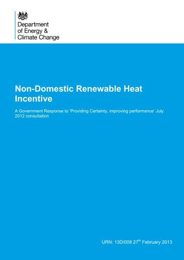 Non-Domestic Renewable Heat Incentive