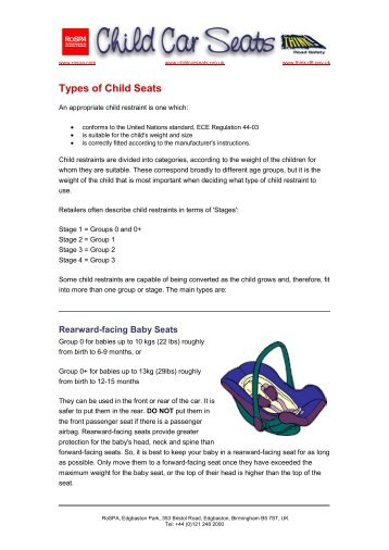 RoSPA Child Car Seats Factsheet : Types of Child Seats