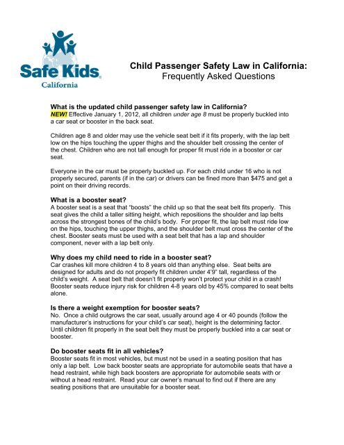 Child Passenger Safety Law In California Madera County