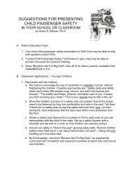 suggestions for presenting child passenger safety - SafetyBeltSafe ...