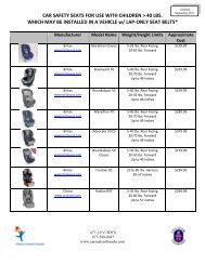 CAR SAFETY SEATS FOR USE WITH CHILDREN > 40 LBS ...