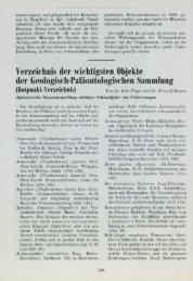 Verzeichnis der wichtigsten Objekte der Geologisch-Paläontologischen Sammlung