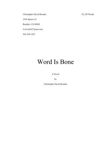 """""""Word is Bone"""" (Excerpt – Chapter One) - Center of the American West"""