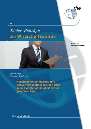 Kieler Beiträge - Institut für Weltwirtschaft