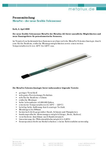 Pressemitteilung - Metallux AG