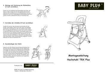 Aufbauanleitung Hochstuhl TRX Plus - Baby Plus