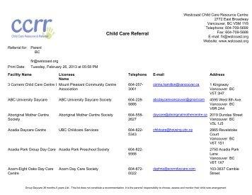 Westcoast Child Care Resource