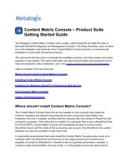 Getting Started Guide for Content Matrix - Metalogix