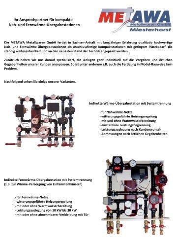 und Fernwärme-Übergabestationen - Metawa-GmbH