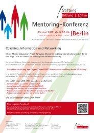 15. Juni 2012, ab 17:30 Uhr Mentoring-Konferenz - Metropol FM