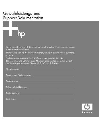 Gewährleistungs- und Support-Dokumentation - HP