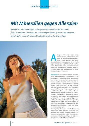 Mit Mineralien gegen Allergien - Die PTA in der Apotheke