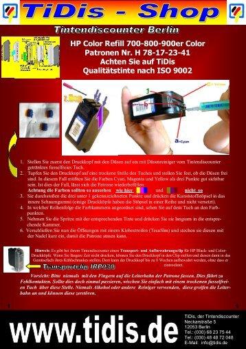 HP Color Refill 700-800-900er Color Patronen Nr. H 78-17-23-41 ...