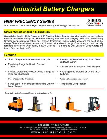 Industrial Battery Chargers - SIRIUS INDIA
