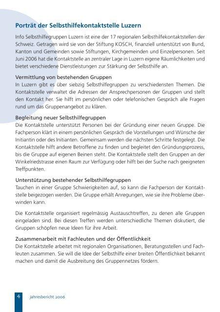 Jahresbericht - info selbsthilfegruppen luzern