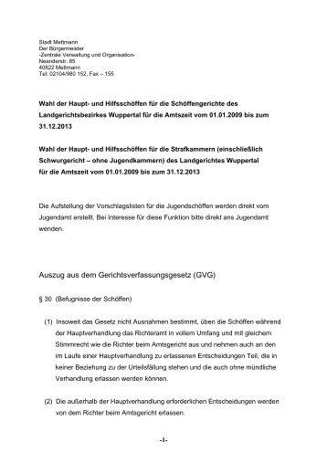 Eine kurze Information der  Vorgaben, die sich im - Stadt Mettmann