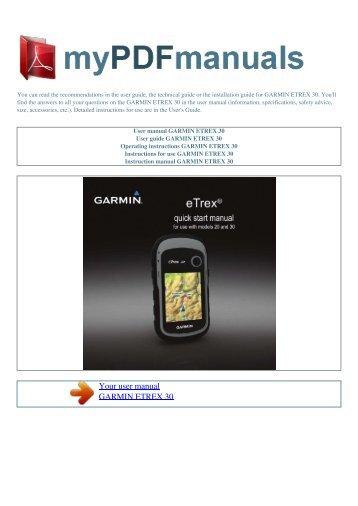 user manual garmin etrex vista cx my pdf manuals rh yumpu com Garmin eTrex Summit HC Review Garmin eTrex Legend Manuals