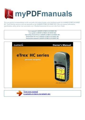 user manual garmin etrex vista cx my pdf manuals rh yumpu com Garmin eTrex 10 Handheld GPS Receiver WAAS-enabled garmin etrex summit hc manual español