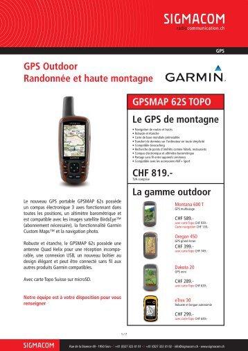 GPS Outdoor Randonnée et haute montagne GPSMAP ... - Sigmacom