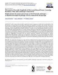 Movement of Juvenile Songbirds in Harvested Boreal Forest ...