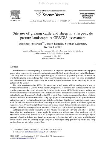 Site use of grazing cattle and sheep in a large-scale pasture ...