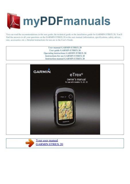 User Manual Garmin Etrex 20 My Pdf Manuals