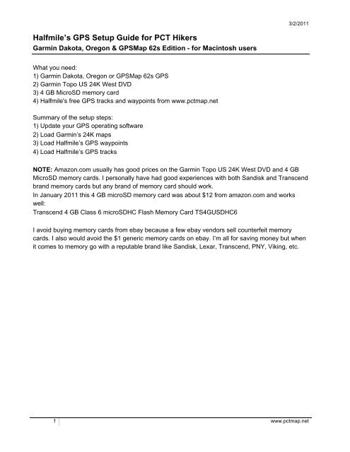 Halfmile's GPS Setup Guide for PCT Hikers, Garmin Dakota, Oregon