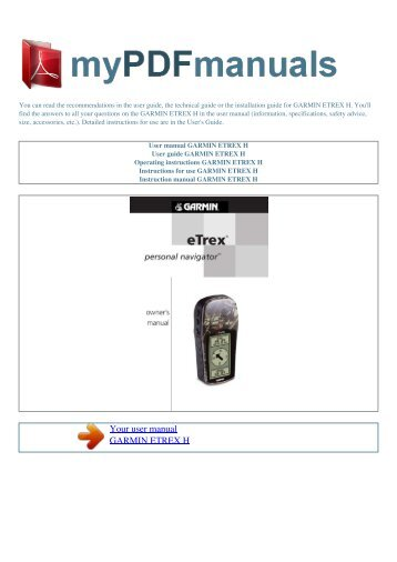 user manual garmin etrex legend cx 1 my pdf manuals rh yumpu com etrex legend h manual pdf garmin etrex h manual portugues