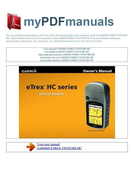User Manual Garmin Etrex Venture Hc My Pdf Manuals