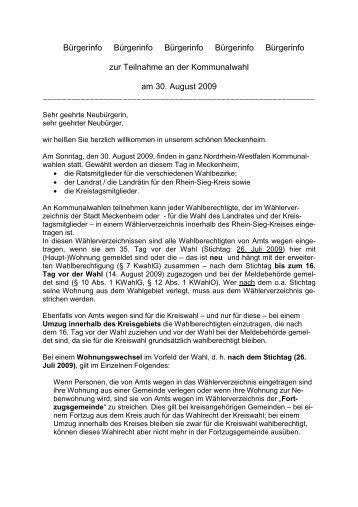 Bürgerinfo für Neubürger - Stadt Meckenheim