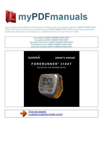 garmin forerunner 310xt manual pdf