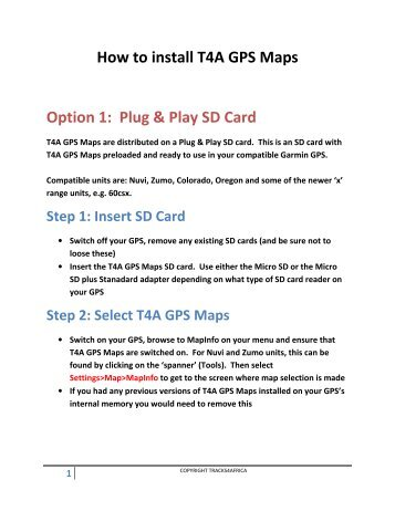 to install T4A GPS Maps Option 1 Plug Play Tracks4Africa