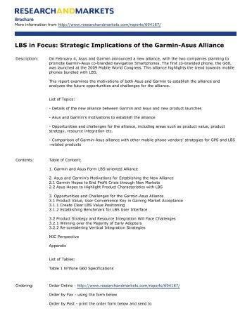 LBS in Focus: Strategic Implications of the Garmin-Asus Alliance