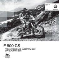 Preisliste F 800 GS - BMW Motorrad