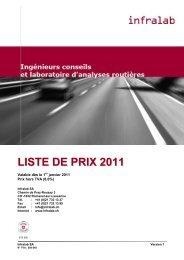 LISTE DE PRIX 2011 - Infralab SA