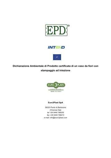 Dichiarazione ambientale di prodotto (DAP o EPD) - Euro 3 Plast