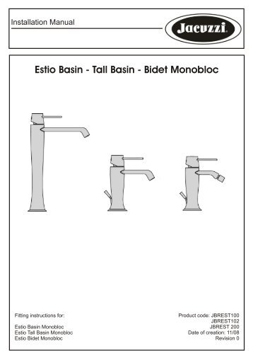 Estio Basin Monobloc - Jacuzzi