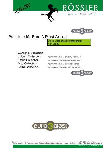 Preisliste für Euro 3 Plast Artikel