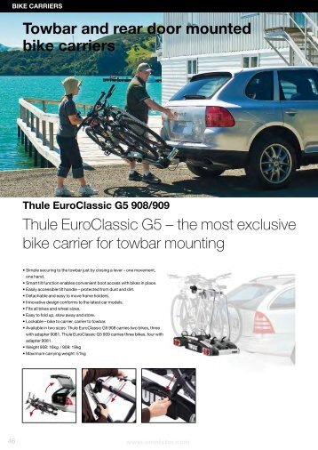 Towbar and rear door mounted bike carriers Thule EuroClassic G5 ...