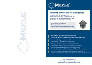 Assembly instructions for water pumps - MEYLE