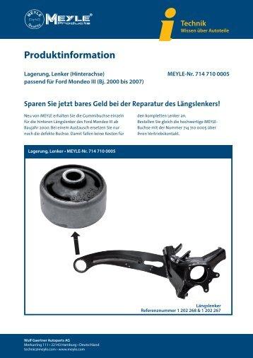 Produktinformation - Lagerung, Lenker (Hinterachse) - Meyle