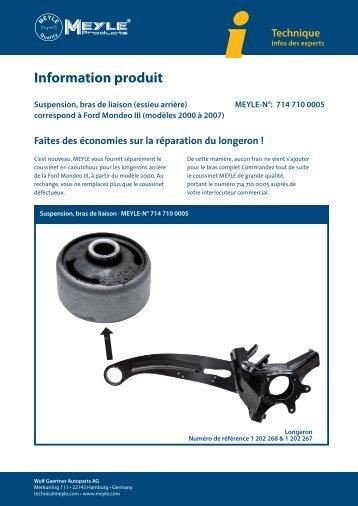 Information produit - Suspension, bras de liaison (essieu ... - Meyle