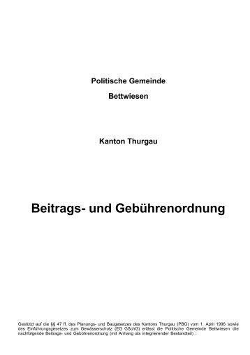 Beitrags- und Gebührenordnung - Gemeinde Bettwiesen