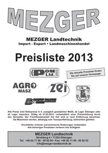 Preisliste 2013 MEZGER Landtechnik