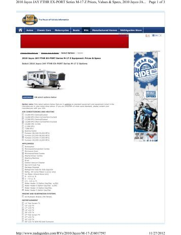 Page 1 of 3 2010 Jayco JAY FTHR EX-PORT Series M-17 Z Prices ...