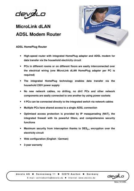 DEVOLO MICROLINK ADSL MODEM ROUTER WINDOWS 7 X64 TREIBER