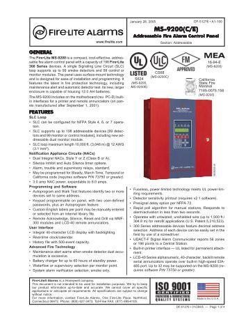 Fire lite ms 9200 manual
