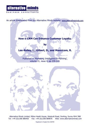 How e-CRM Can Enhance Customer Loyalty. by ... - Alternative Minds