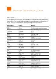 Bevorzugte Telefonie Roaming Partner 15.02.2013 - Orange